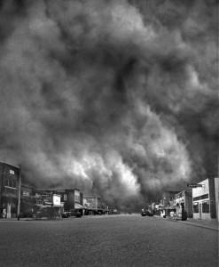 Az óriási Black Sunday (Fekete Vasárnap) vihar 1935. április 14-én - Ulysses, Kansas (Kép: Historic Adobe Museum., Forrás: internet)