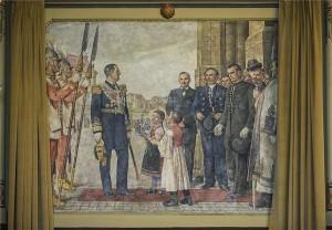 Horthy Miklós 1920 februári látogatását megörökítő, 1944-ben készült falfestmény a Kecskeméti Városháza dísztermében. A falfestmény a terem díszítőfestésének és festményeinek tisztításakor került elő. (MTI Fotó: Ujvári Sándor)