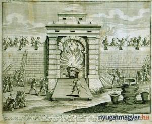 Vaubcourt alezredes petárdája olyan erősen megrongálta a kaput, hogy a sereg - Pálffy és Schwarzenberg vezetésével - könnyen bejutott a városba (Forrás: Internet)