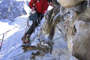 A 2004-ben megtalált sebesültszállító katonák kiemelése a jégfalból. (Forrás: AFP/Maurizio Vicenzi)