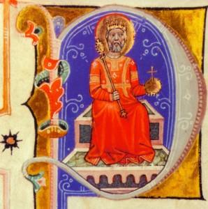 Szent István a Képes Krónika iniciáléjában