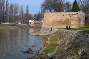 A Rába kettős hídjától a Duna felé tekintve észrevettem a legutóbbi árvíz uszadékfáit...