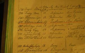 Petőfi neve még Petrovicsként a pápai Ókollégium nyilvántartásában (Pápai Református Gyűjtemény)