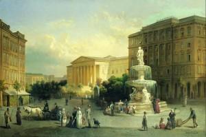 Amikor a Kálvin tér még szép volt, és romantikus - festmény a századforduló előttről. (Forrás: internet)