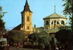 A szerencsi templom és mellette a fürdő - képeslap az 1960-as évekből